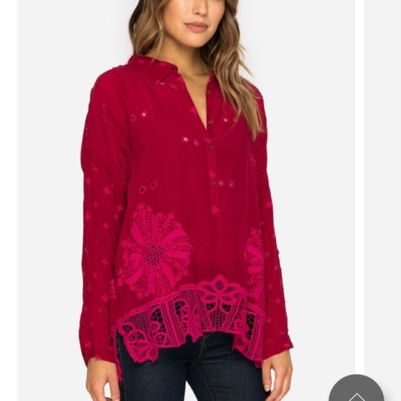 328d436b311b7 Johnny Was red embrodied tunic blouse